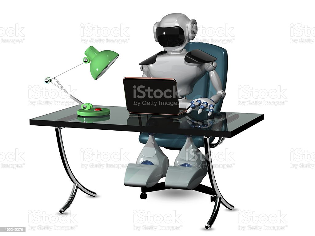 Image result for robot sitting at desk