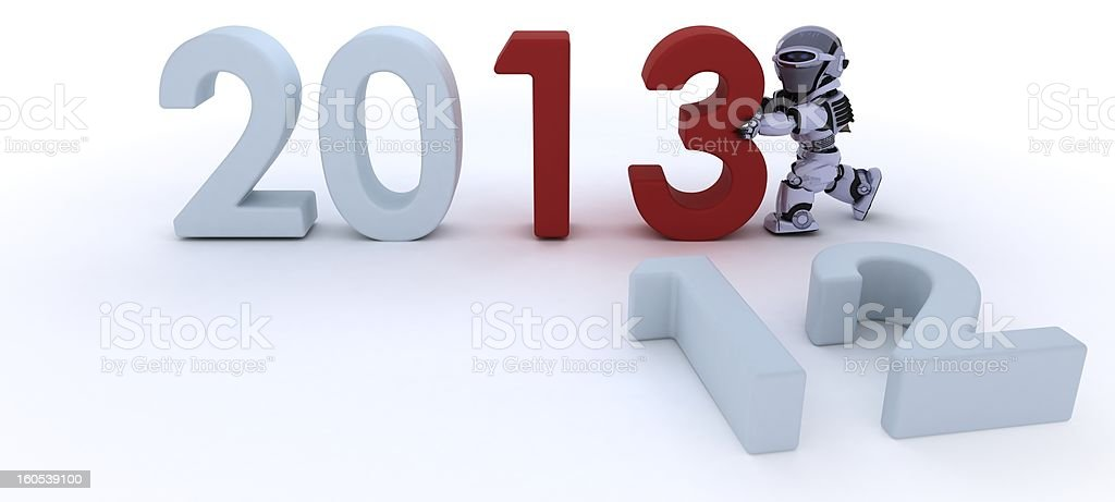 Robot  bringing in the new year vector art illustration