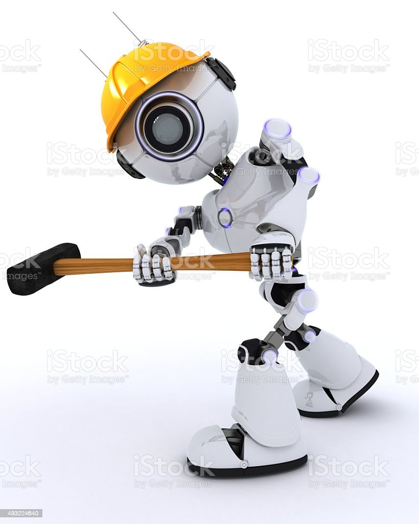 Robot builder with a sledgehammer stock photo