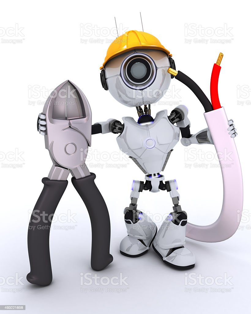 Robot builder with wire cutters stock photo