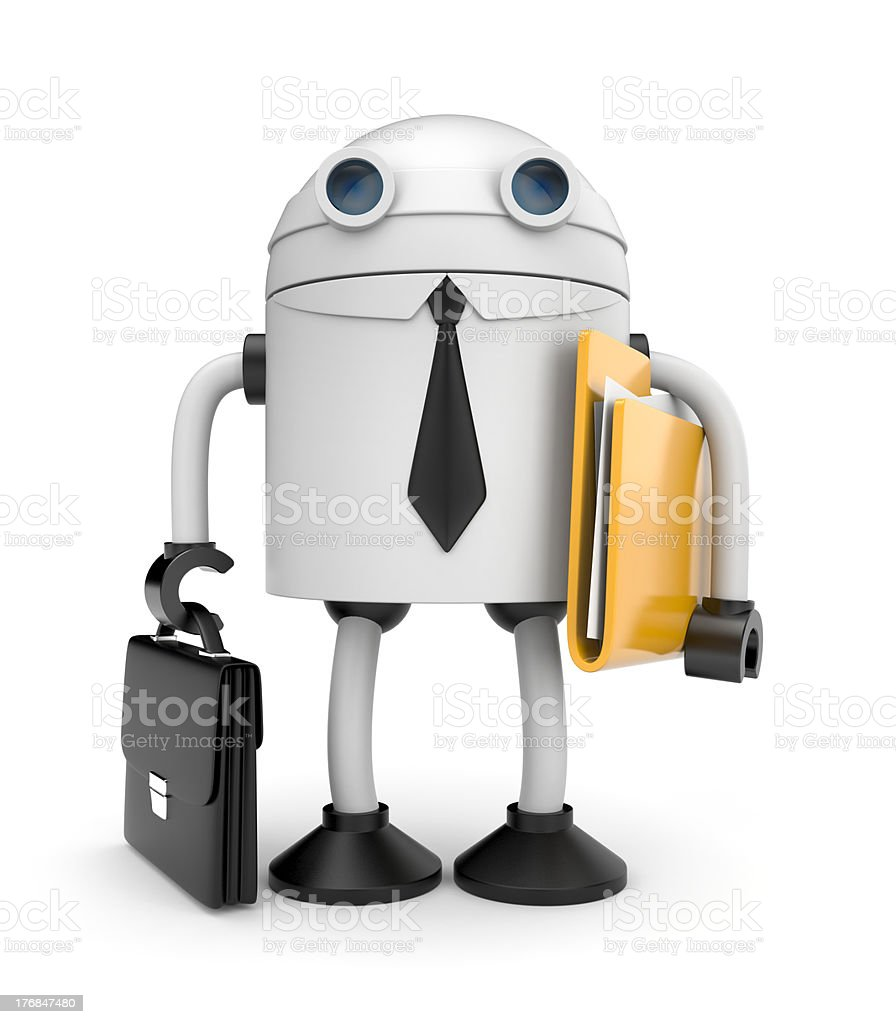 Robot businessman with folder royalty-free stock photo