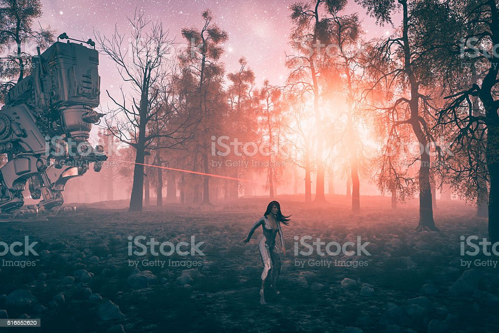 Robot chasing astronaut in the forest stock photo