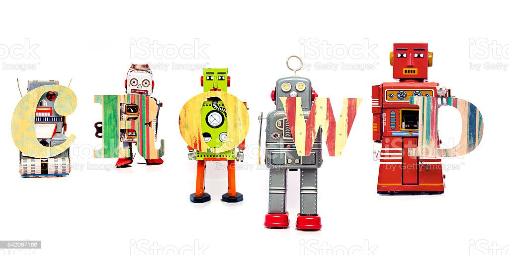 robot crowd stock photo