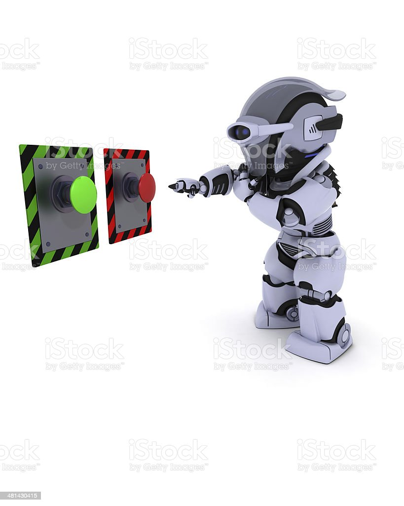 Robot deciding which button to push stock photo