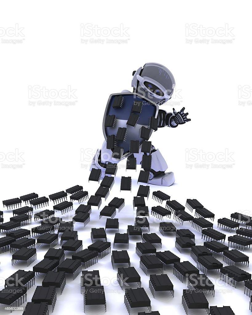 Robot defending against virus attack stock photo
