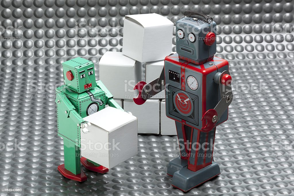 Robot Delivering Package royalty-free stock photo