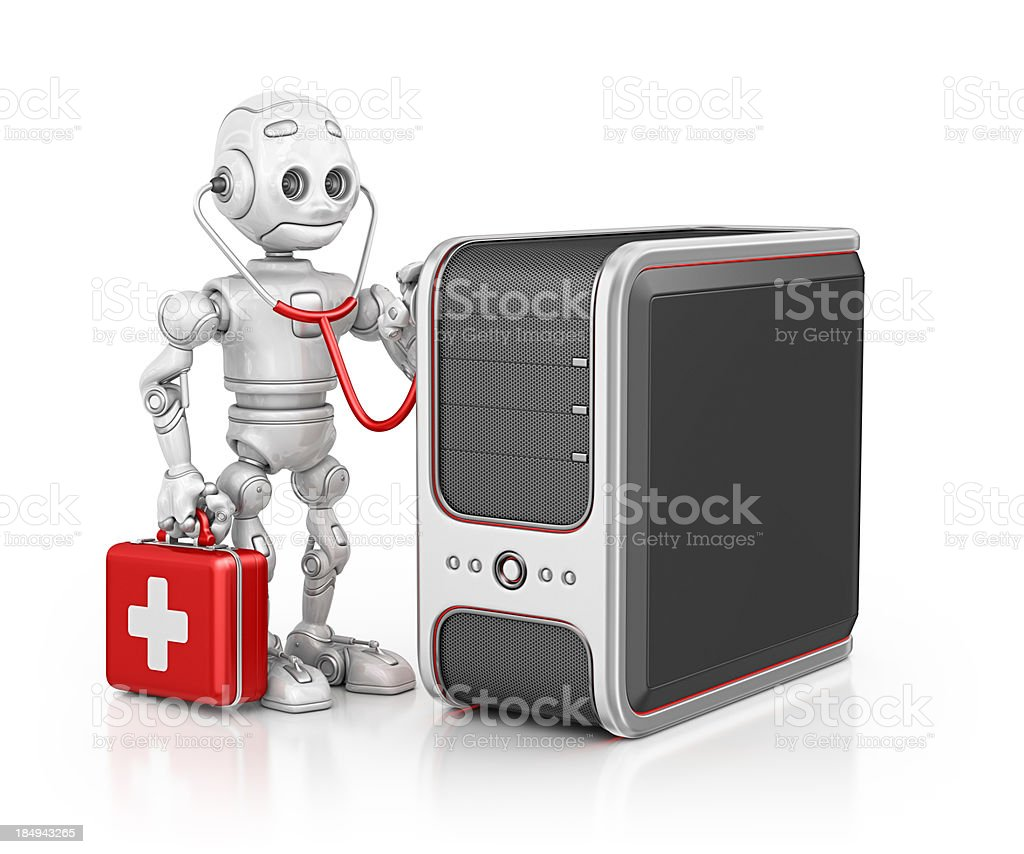 robot doctor examine pc stock photo