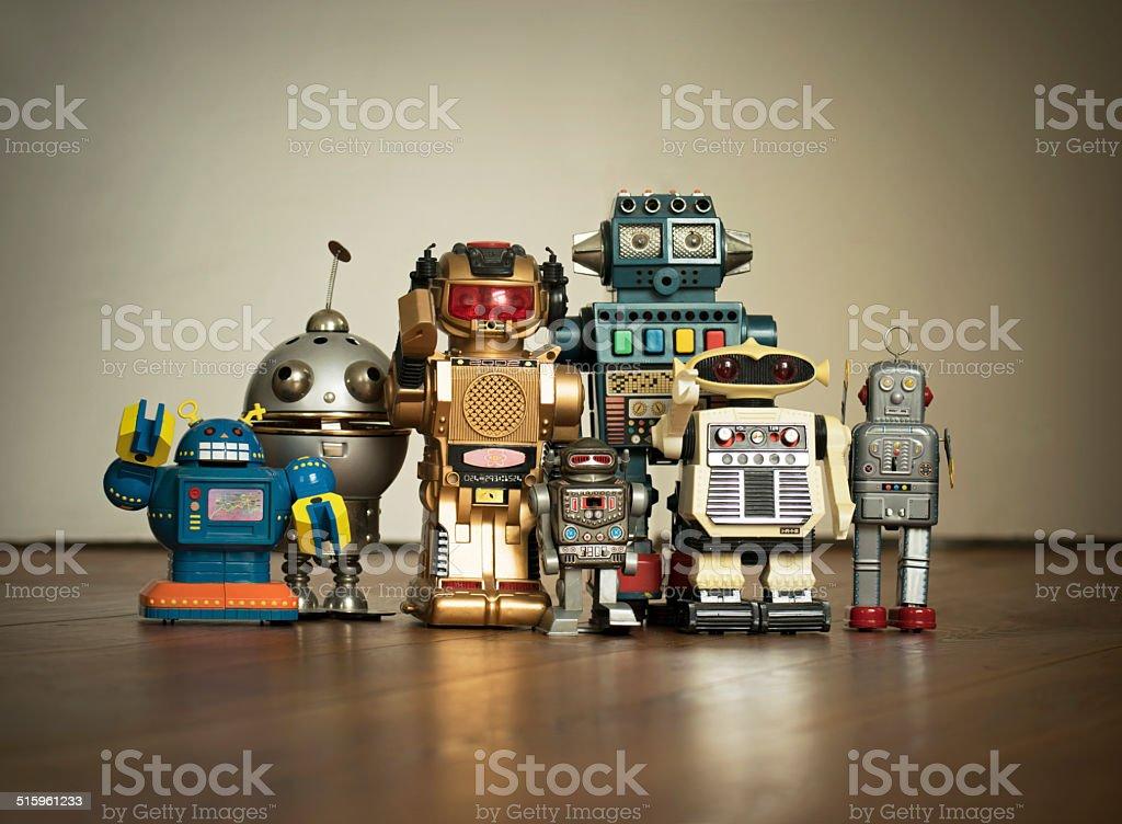 Robot Family Pic royalty-free stock photo