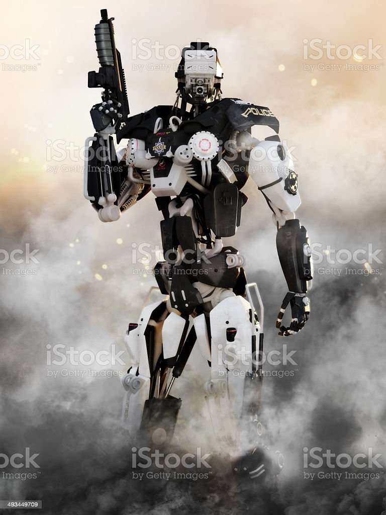 Robot Futuristic Police armored mech weapon stock photo