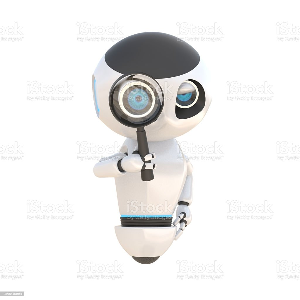 Robot glossy cute white robot with magnify glass Isolated stock photo