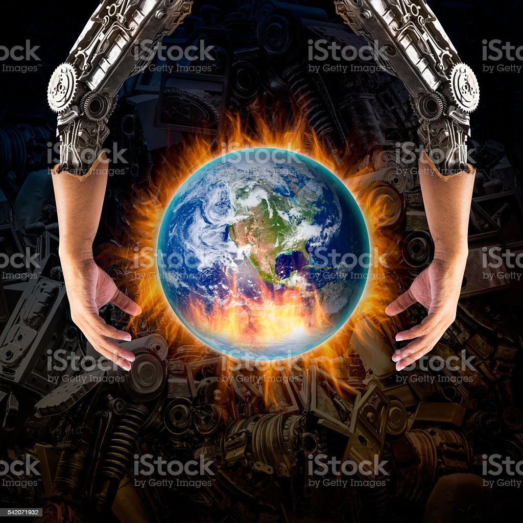 Robot hand embrace the catching fire globe stock photo