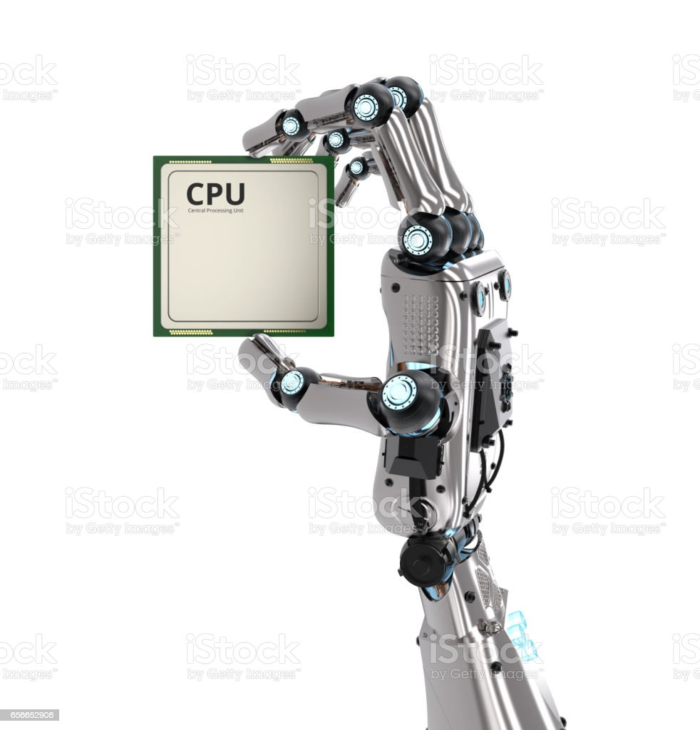 robot hand holding cpu chip stock photo