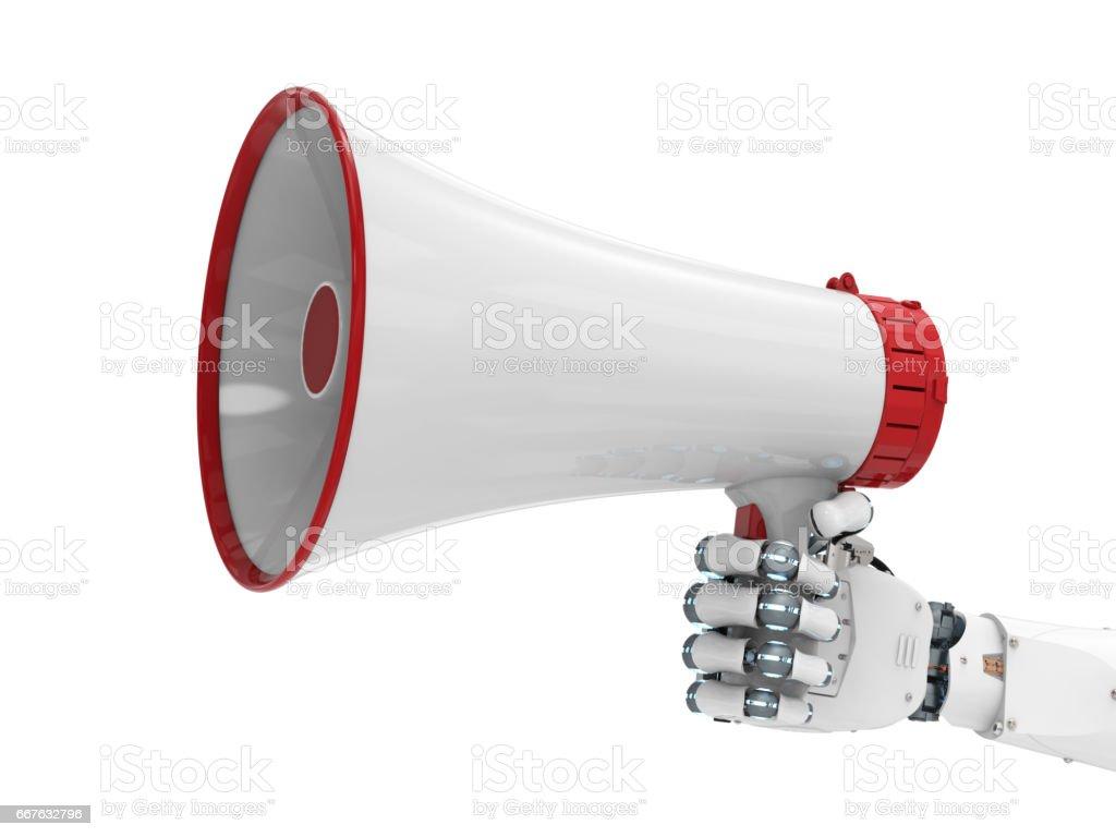 robot hand holding megaphone stock photo