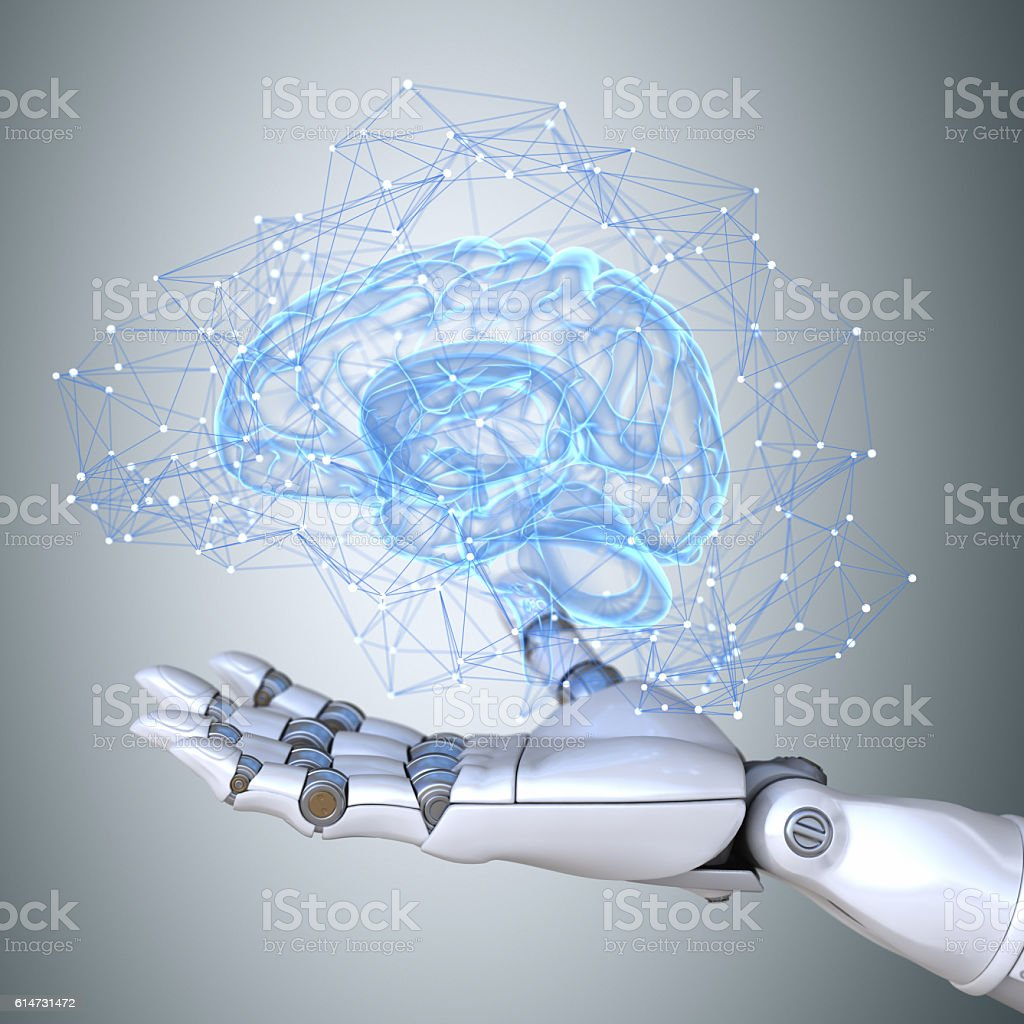Robot hand holding virtual brain scheme stock photo