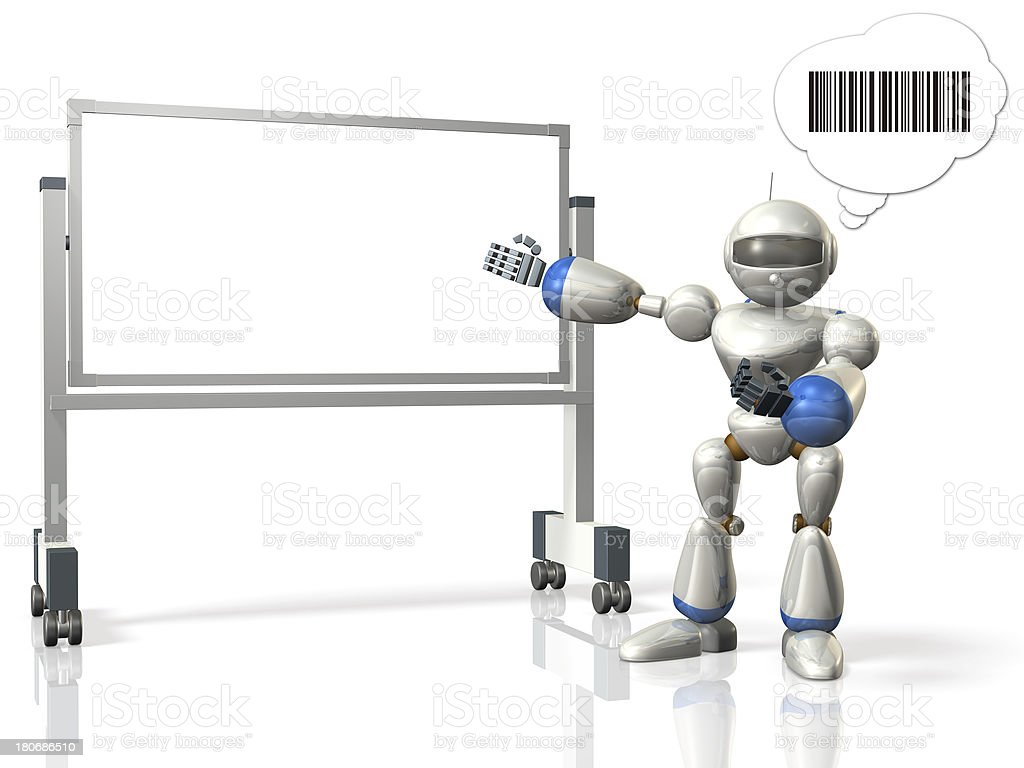 Robot has a presentation using the whiteboard. royalty-free stock photo