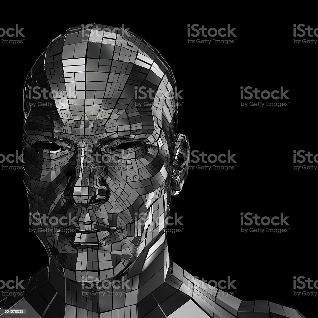 Robot head looking front through the camera stock photo