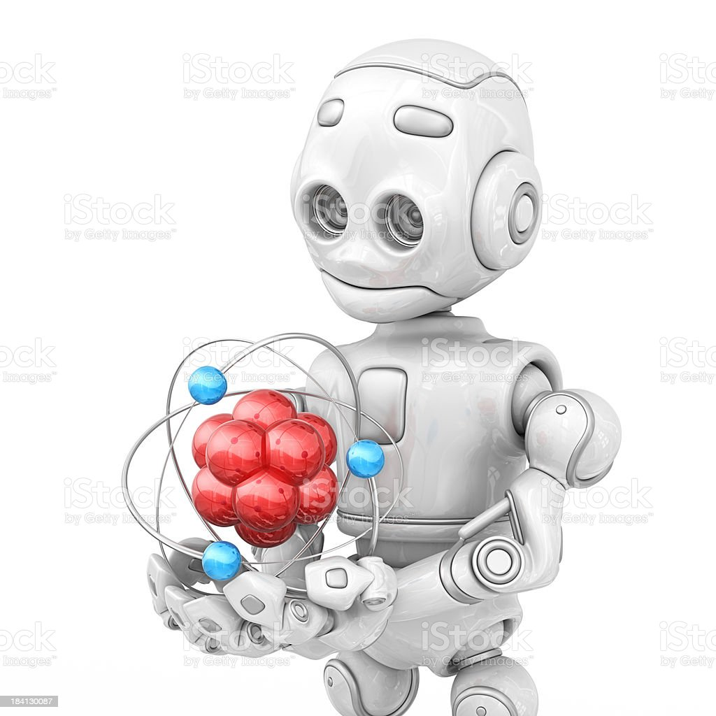 robot holding atom royalty-free stock photo