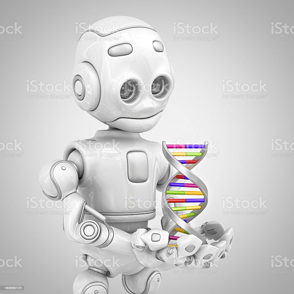 robot holding DNA royalty-free stock photo