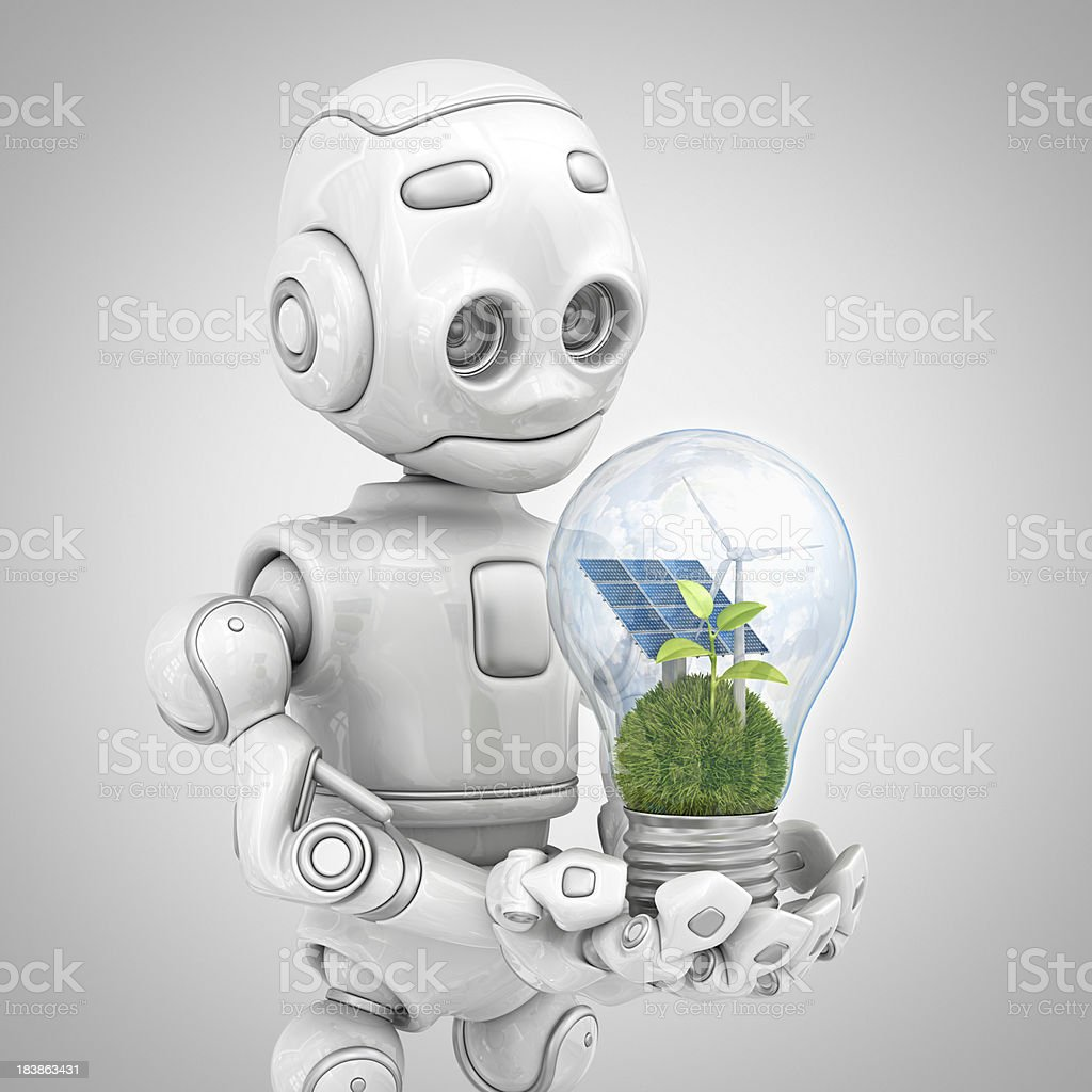 robot holding eco light bulb royalty-free stock photo