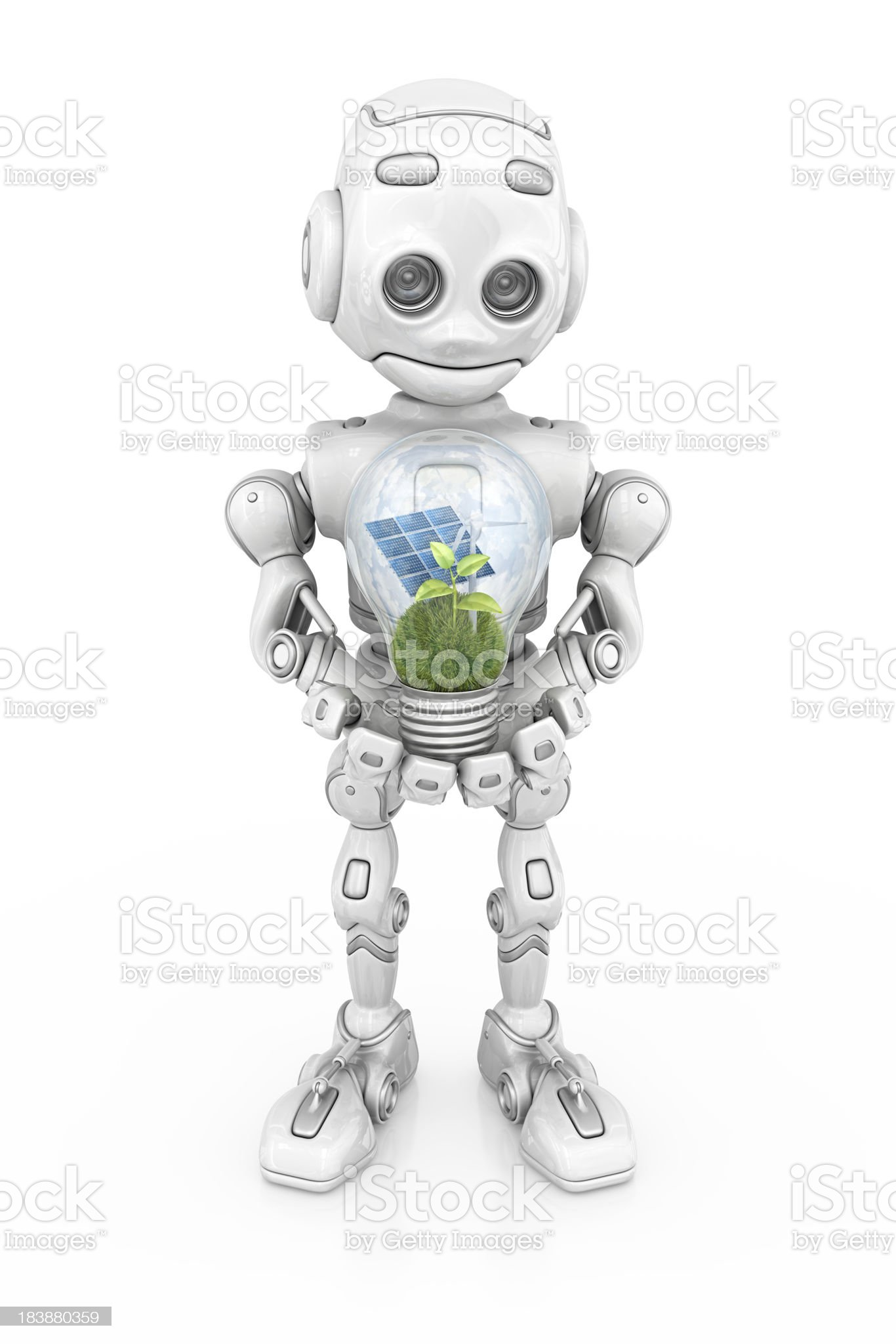 robot holding eco light bulb royalty-free stock photo