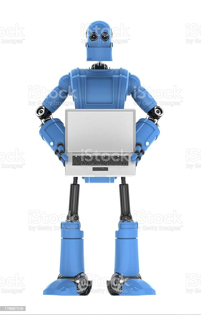 Robot holding laptop with copyspace available on the computer screen royalty-free stock photo
