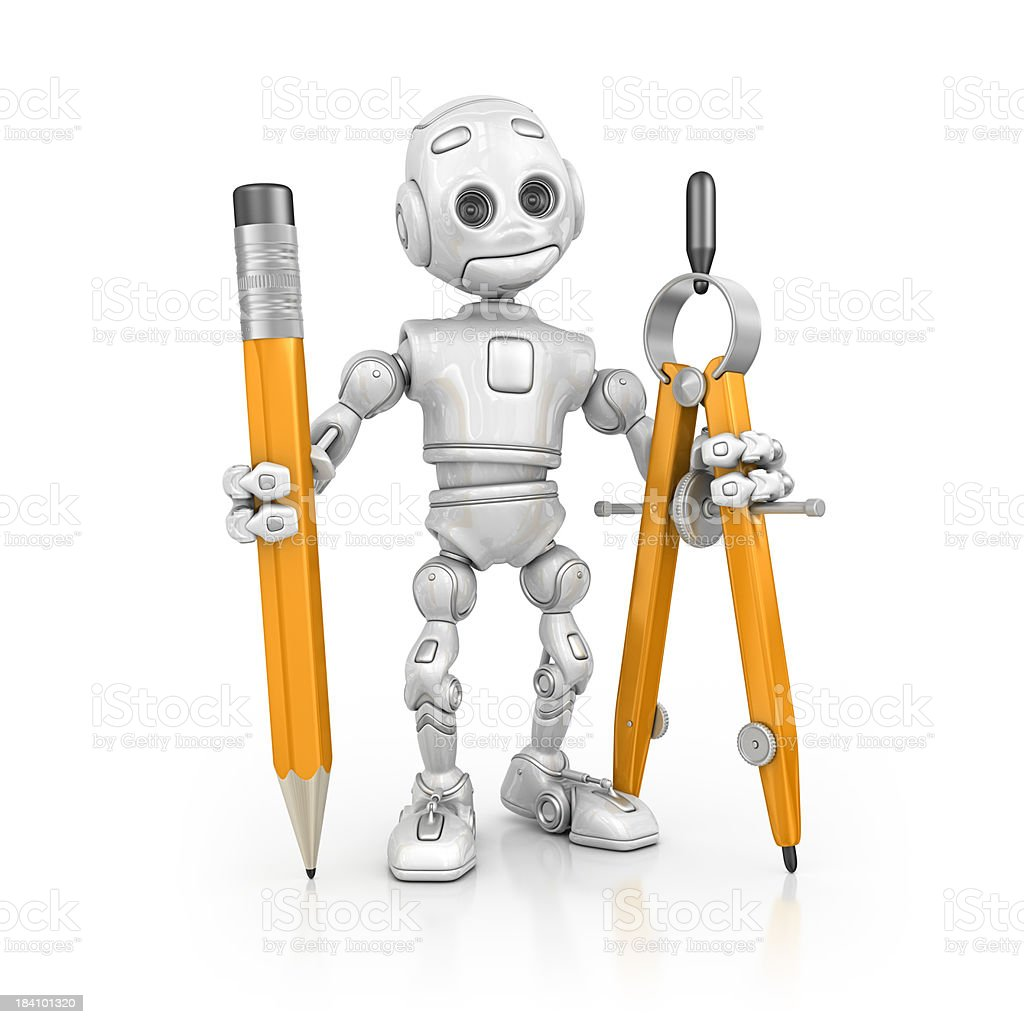 robot holding pencil and drawing compass royalty-free stock photo