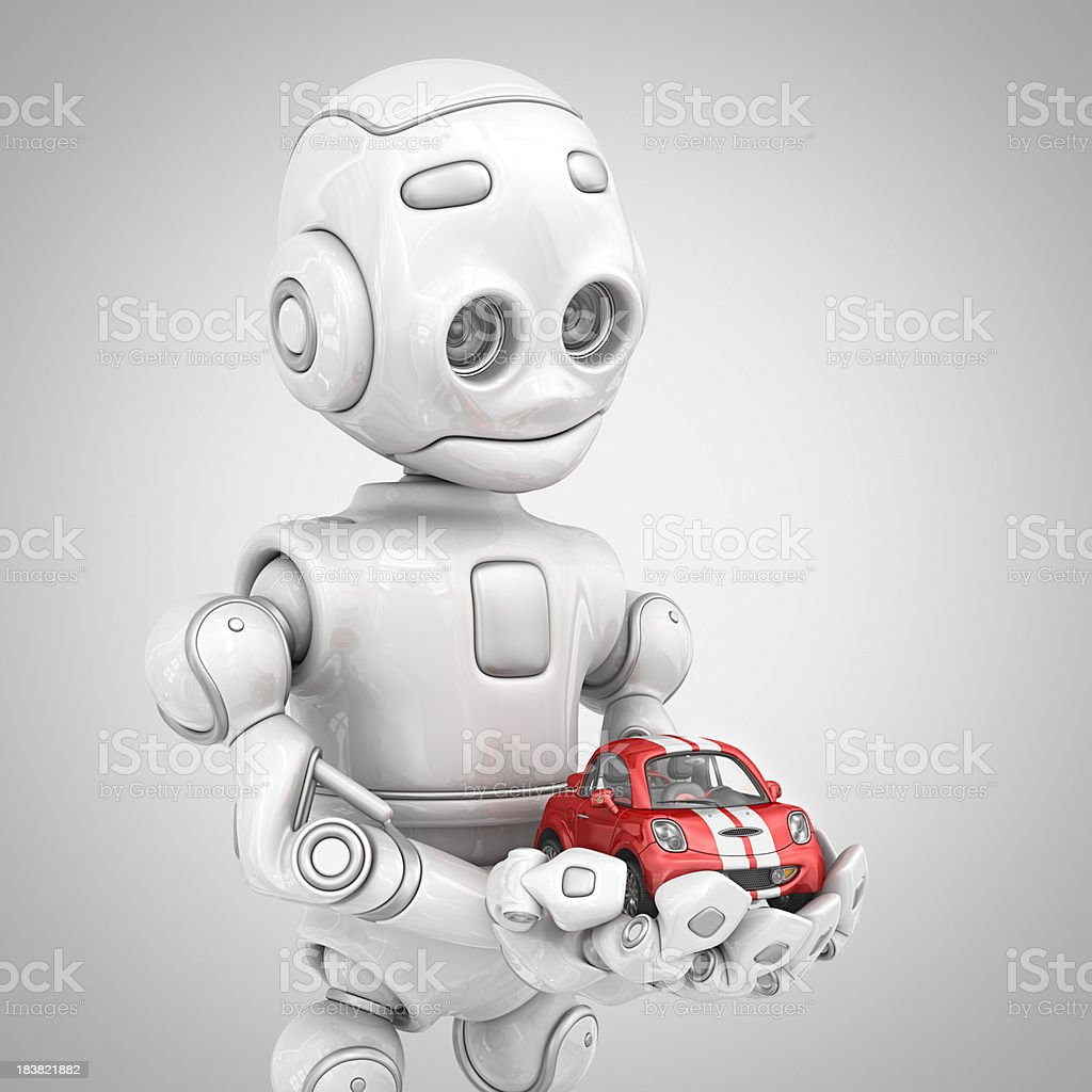 robot holding sport car royalty-free stock photo