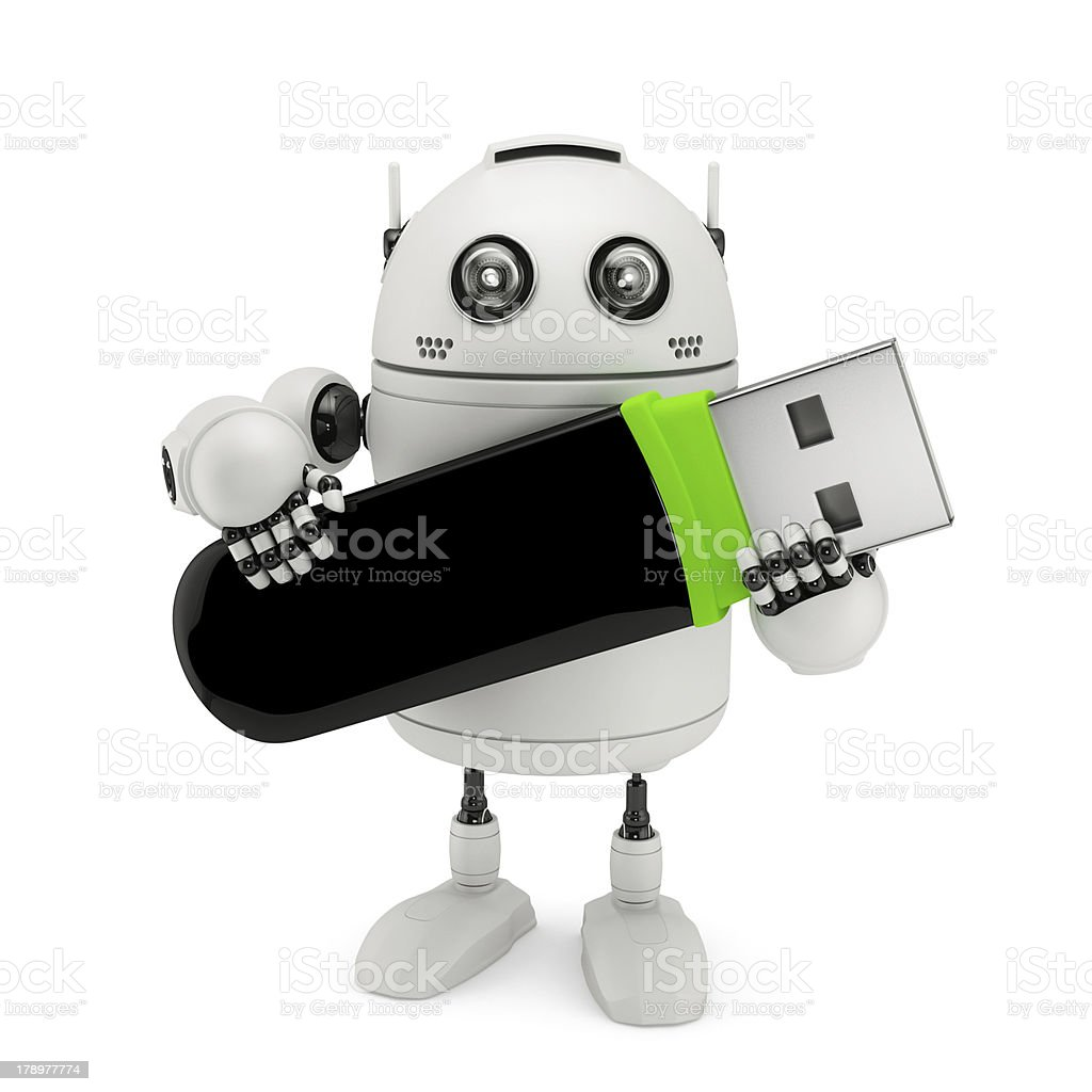 Robot holding usb flash drive royalty-free stock photo