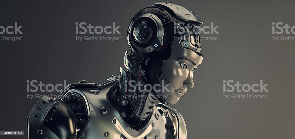 Robot in helmet stock photo