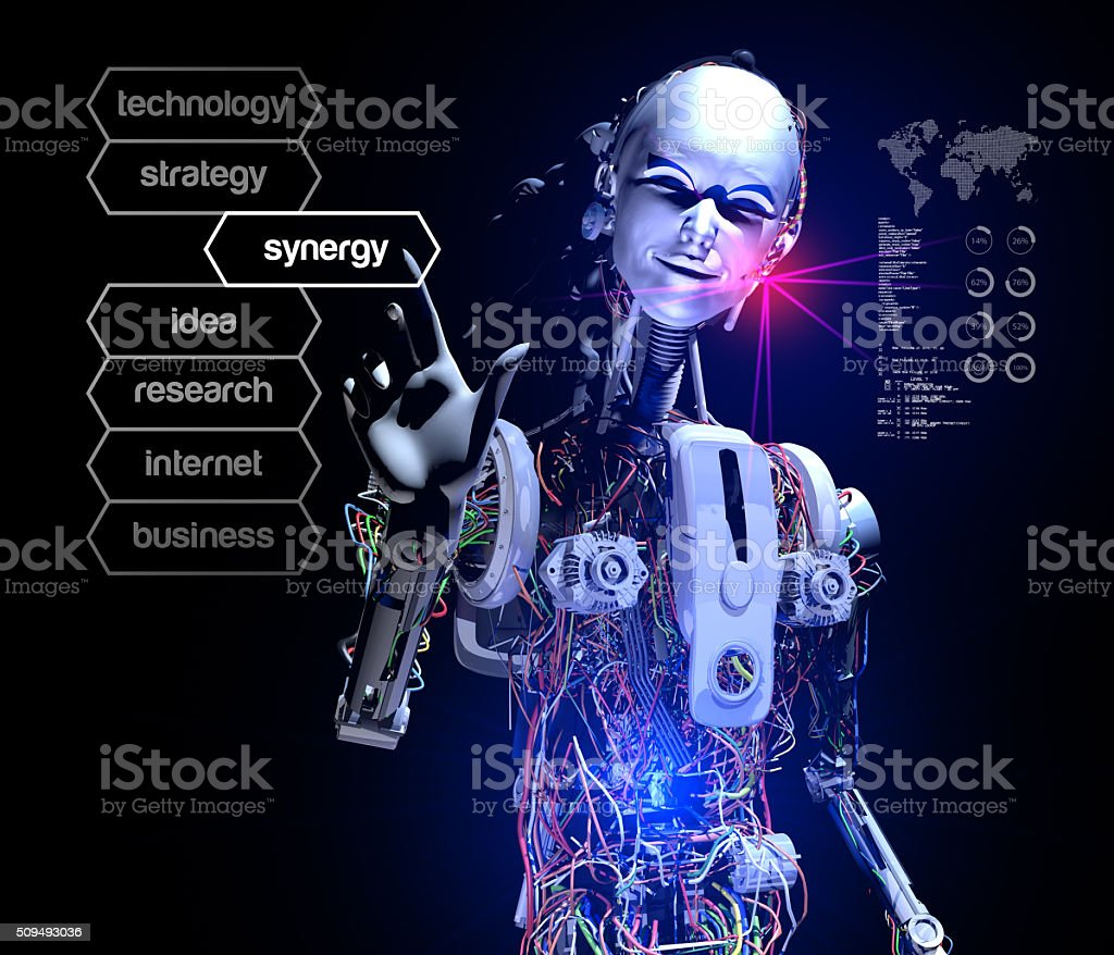 Robot is pushing Synergy Button stock photo
