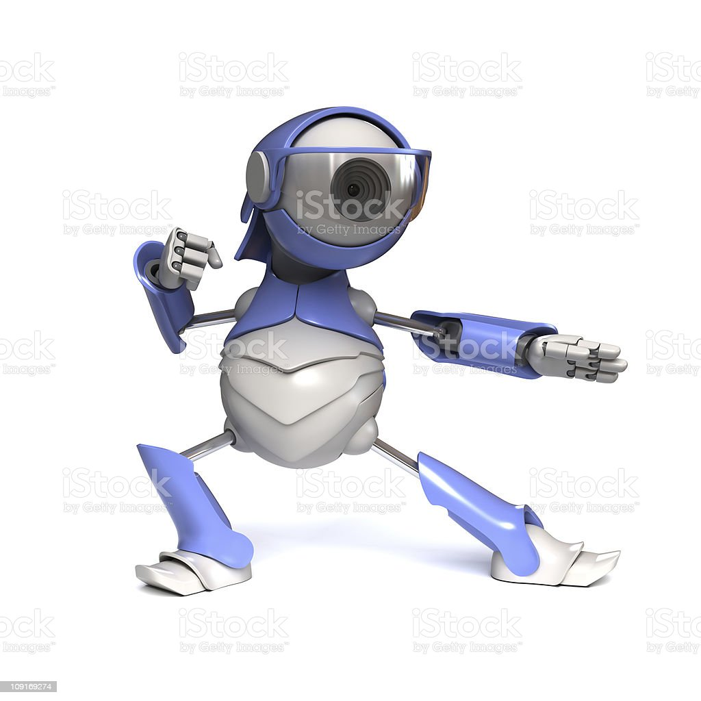 Robot karateka stock photo