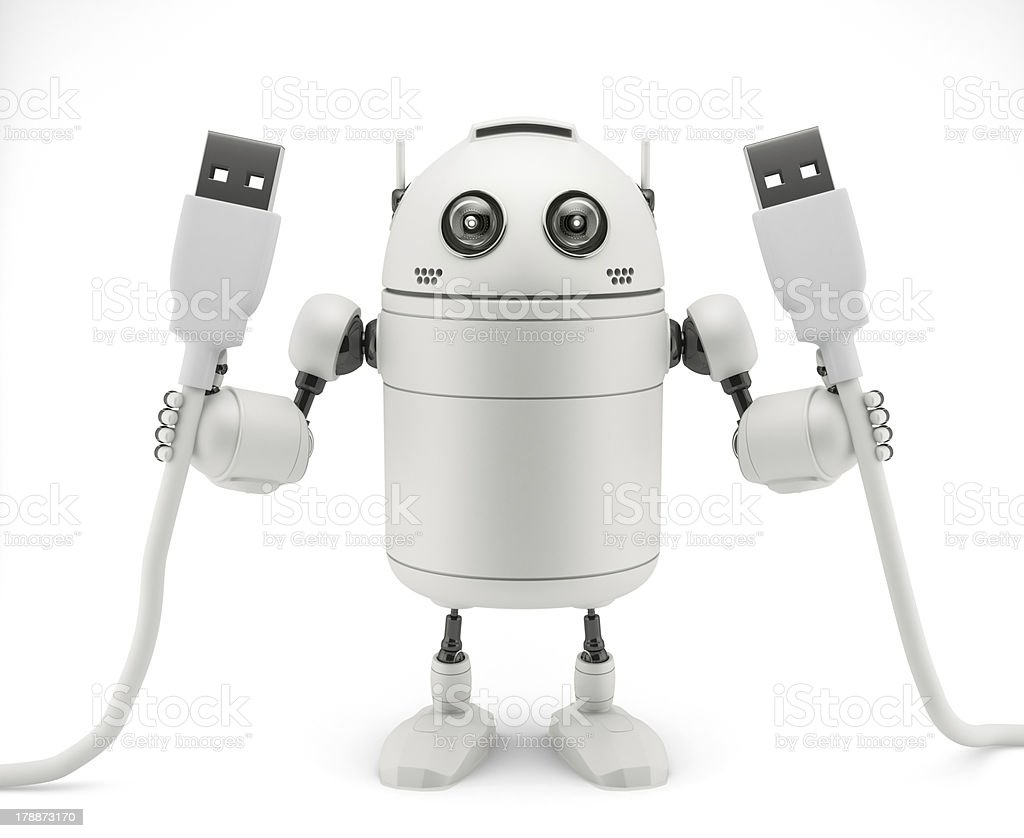 Robot keep in hand a usb cable royalty-free stock photo