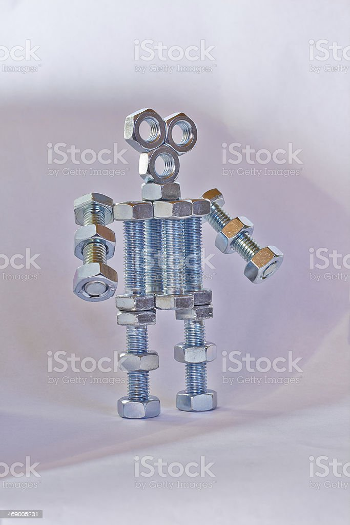 robot made ​​of bolts royalty-free stock photo
