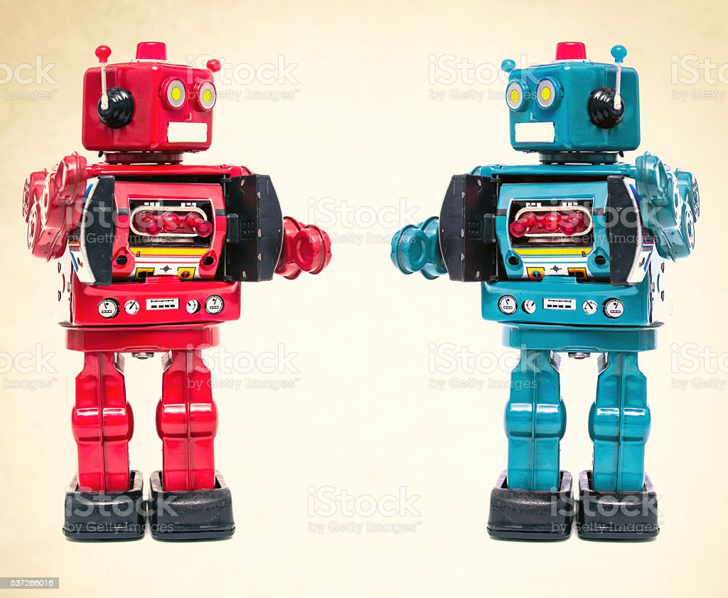 robot meeting stock photo