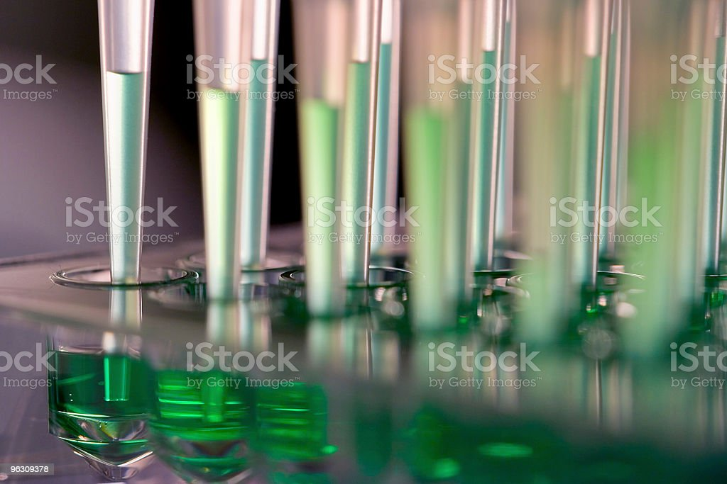 Robot microfluidics dispensation stock photo
