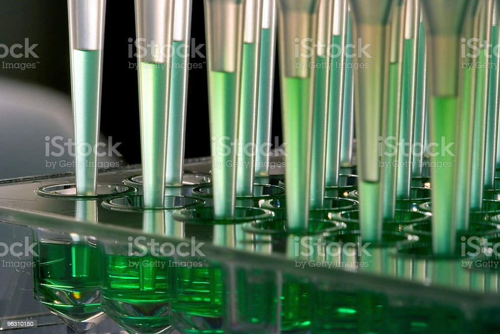 Robot microfluidics dispensation stock photo