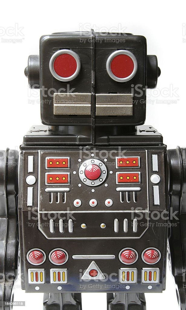 Robot, Old-fashioned Metal Toy Machine with Computer Control Panel Chest royalty-free stock photo