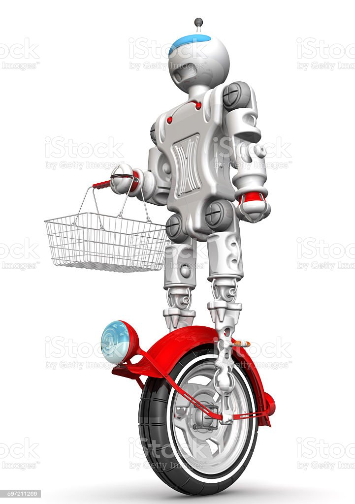 Robot on unicycle with grocery basket stock photo