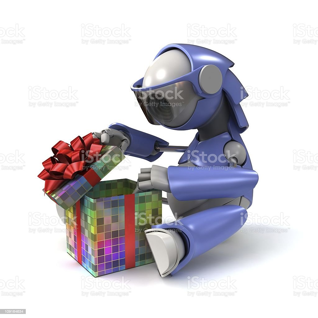 Robot opens a gift stock photo