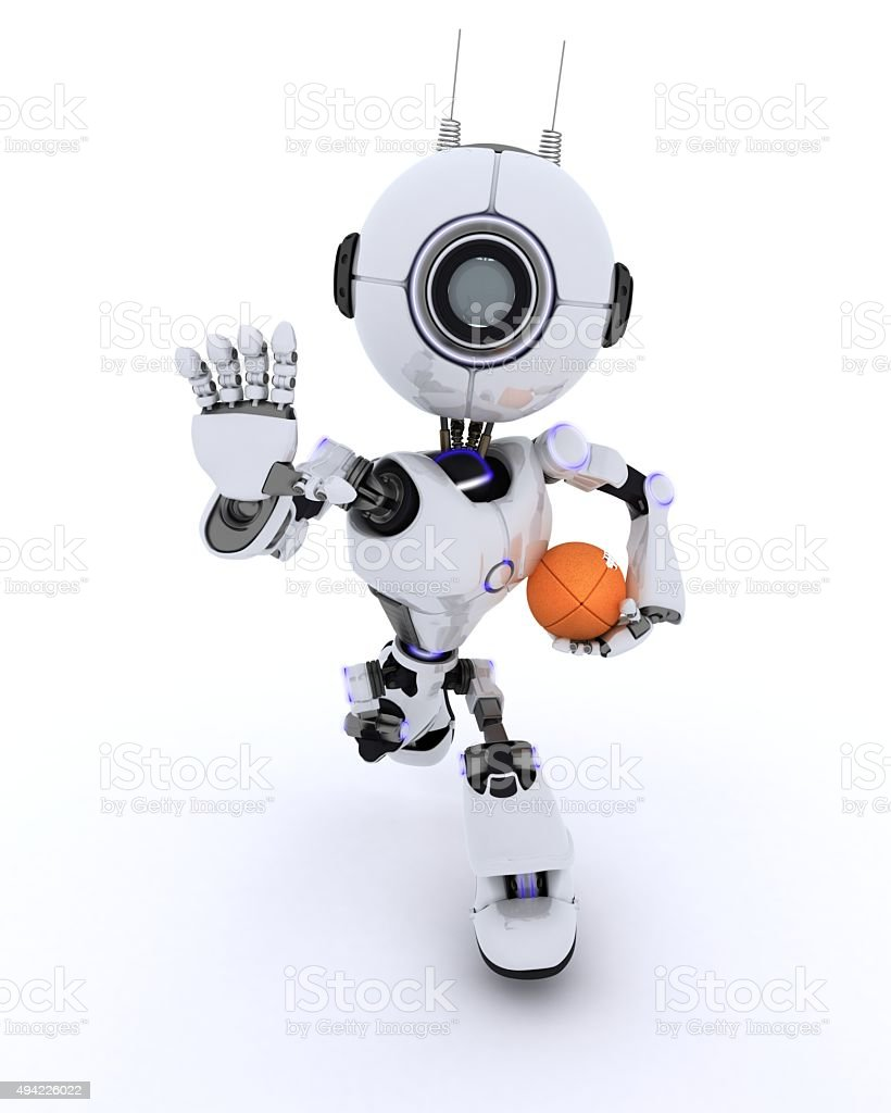 Robot playing American Football stock photo