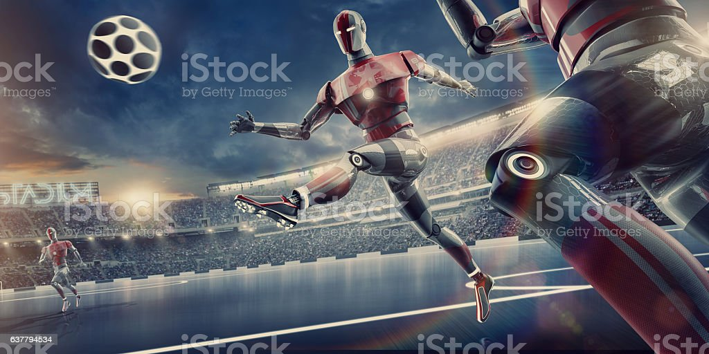 Robot Playing Soccer in Outdoor Futuristic Football Stadium stock photo