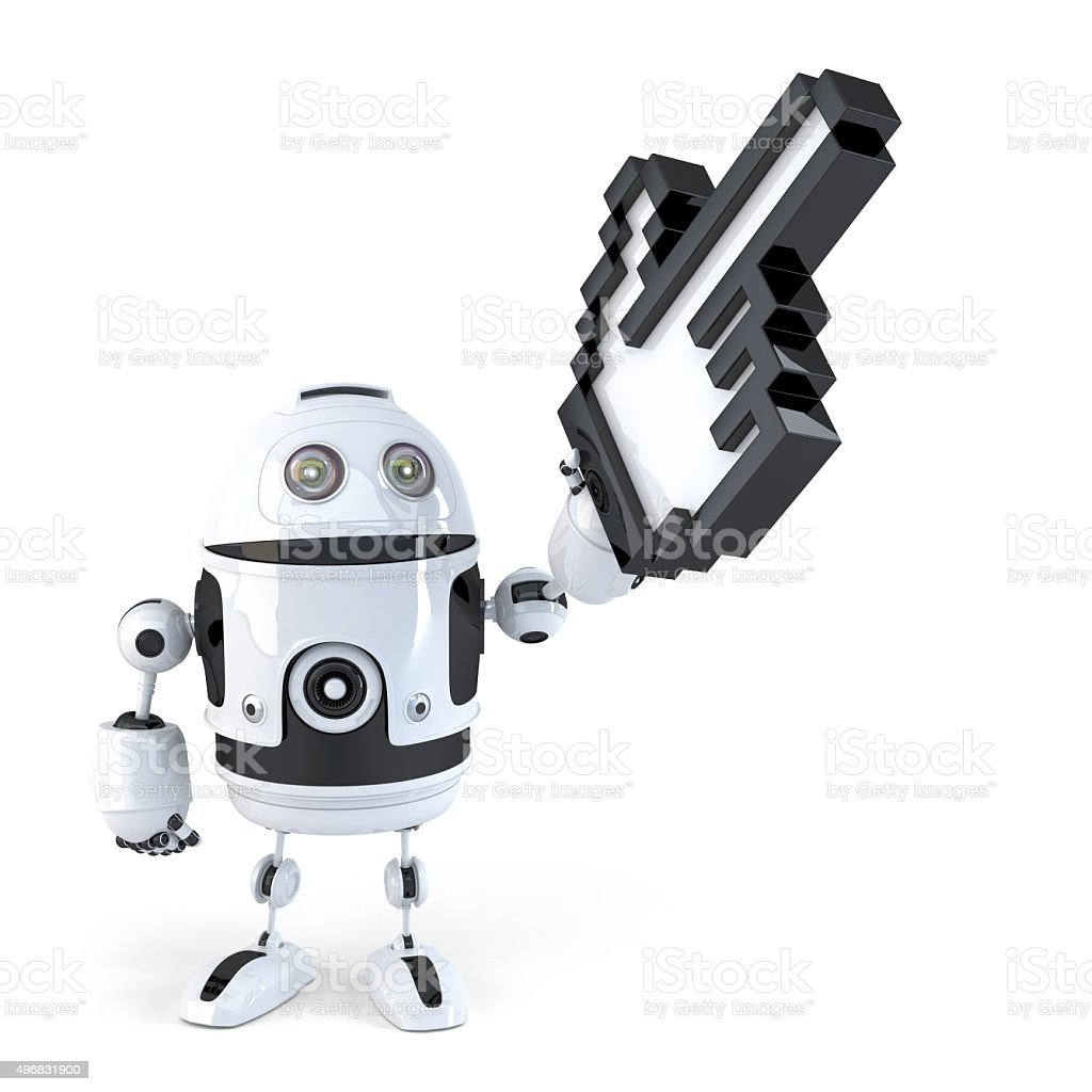 Robot pointing with huge cursor. Isolated. Contains clipping path stock photo