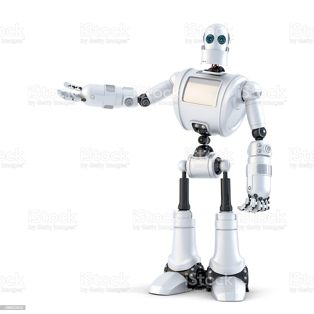 Robot presenting an invisible object. Isolated. Contains clipping path stock photo