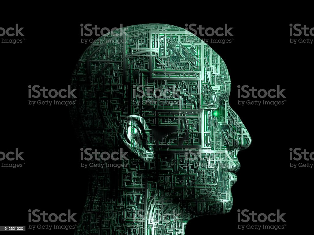 robot profile on black stock photo