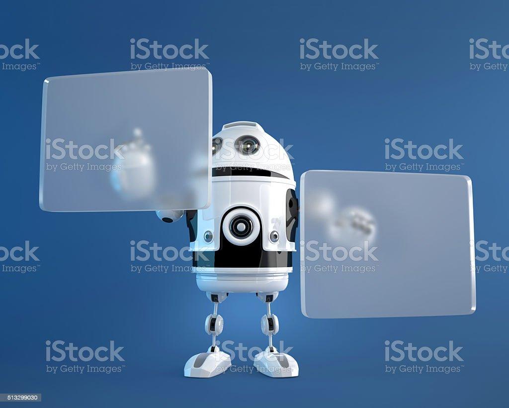 Robot pushing a button on digital vurtual screen stock photo