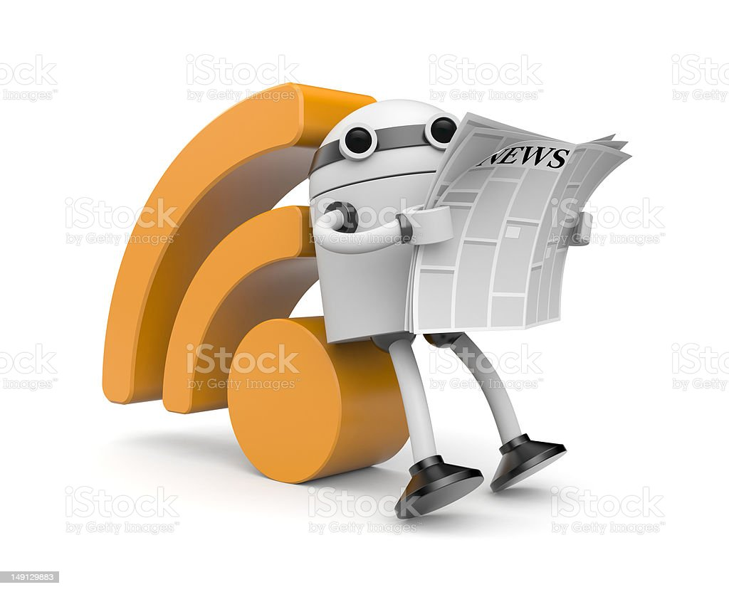 Robot reading RSS news royalty-free stock photo