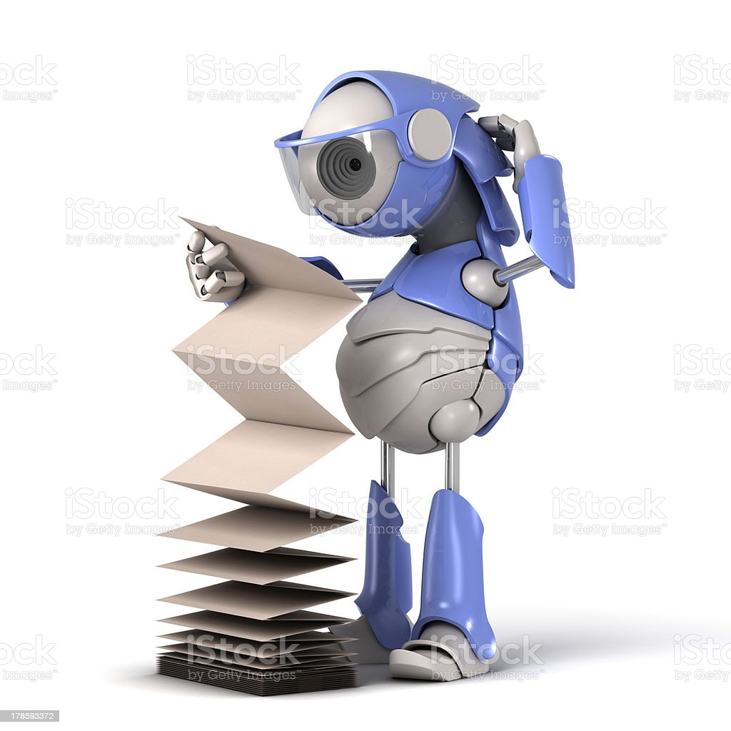 Robot reads the instruction stock photo