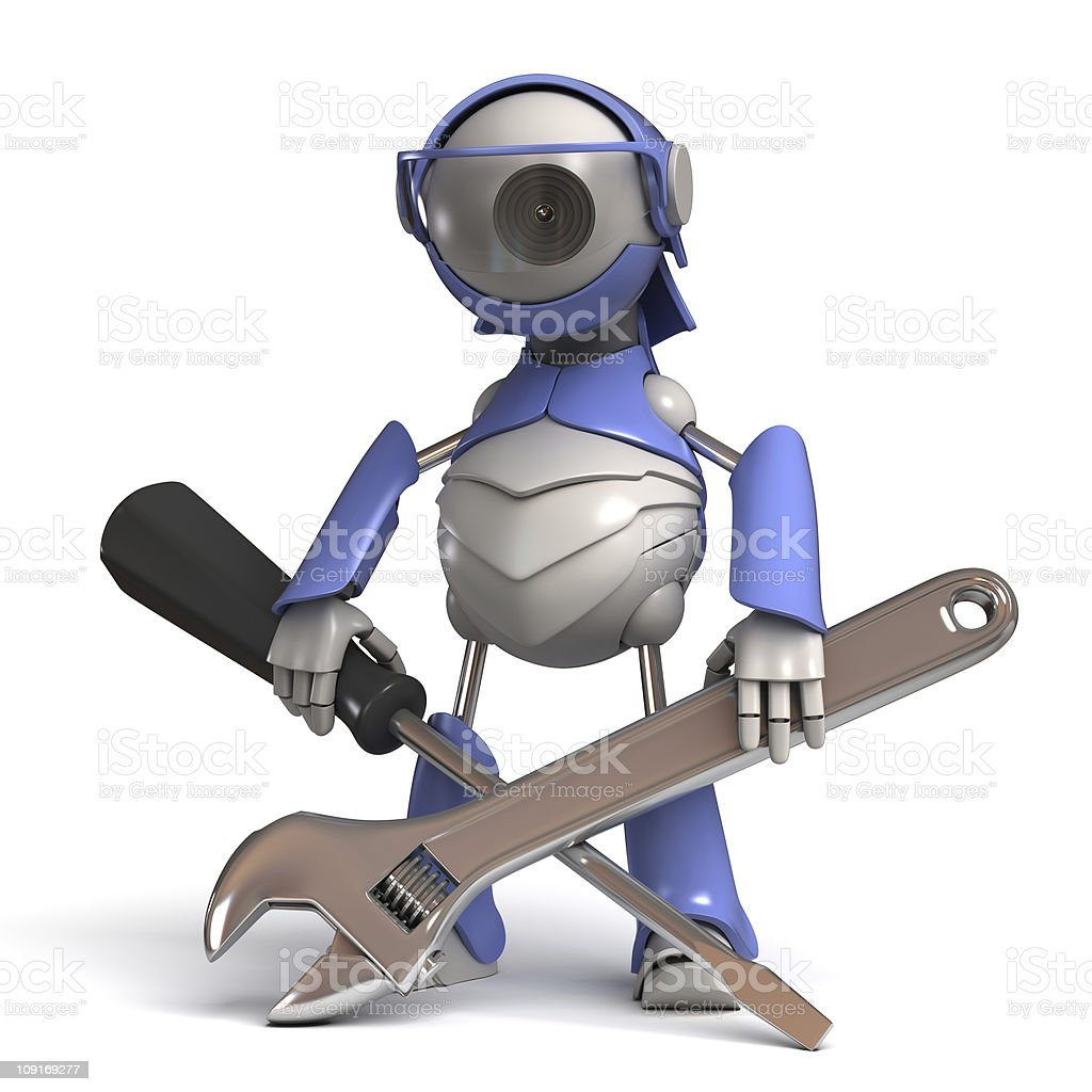 Robot repairman stock photo