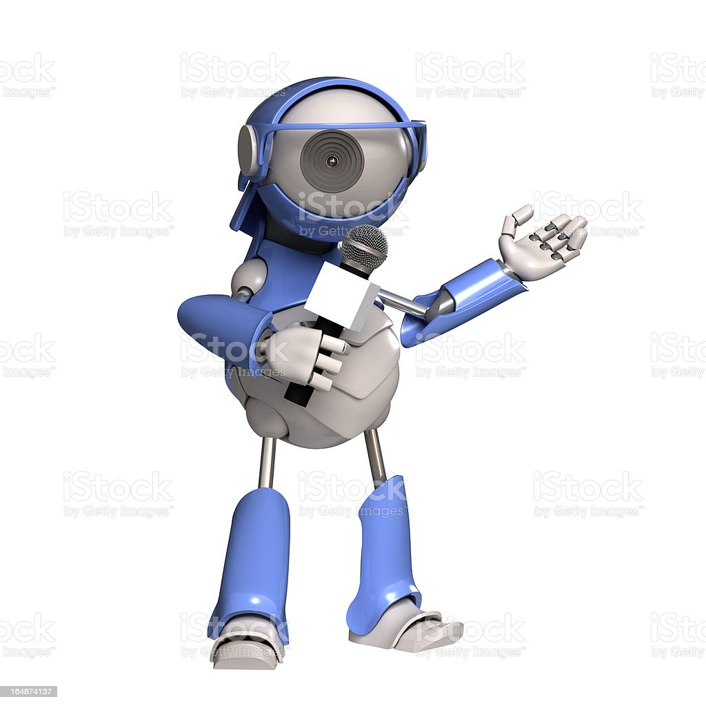 Robot says into the microphone royalty-free stock photo