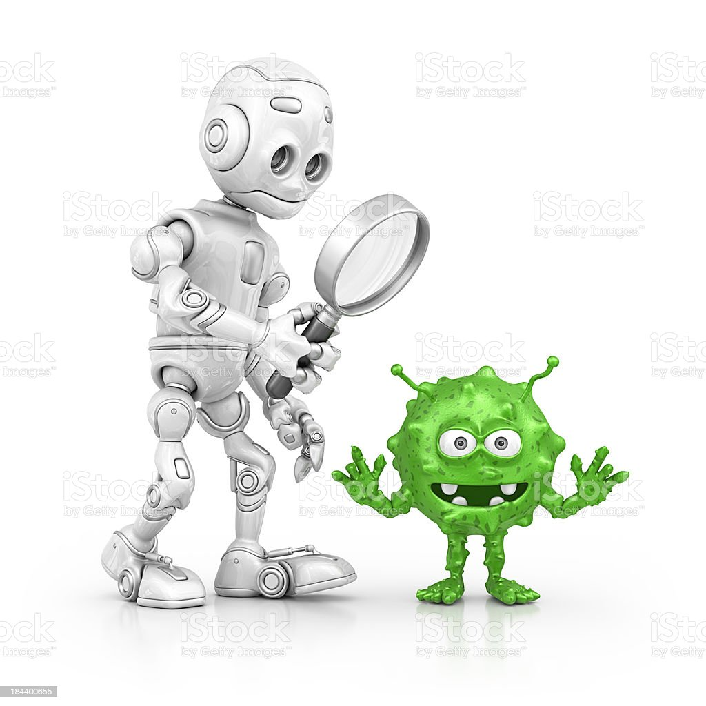 robot searching bacterium stock photo